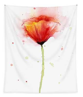 Poppy Watercolor Red Abstract Flower Tapestry