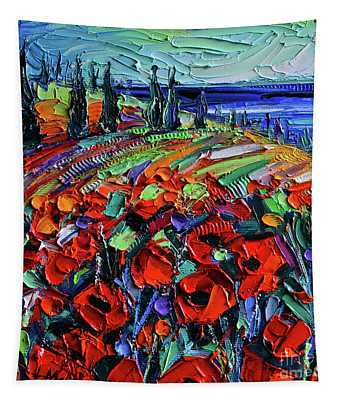 Poppyscape - Textural Impasto Knife Oil Painting - Mona Edulesco Tapestry