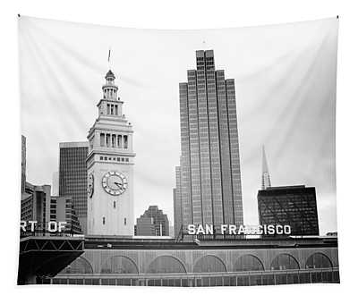 Port Of San Francisco Black And White- Art By Linda Woods Tapestry