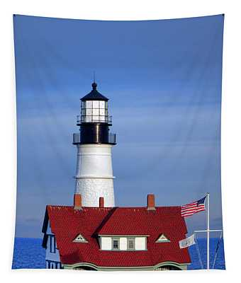 Portland Head Light And Keeper House Tapestry