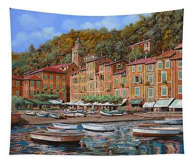 Portofino-la Piazzetta E Le Barche Tapestry