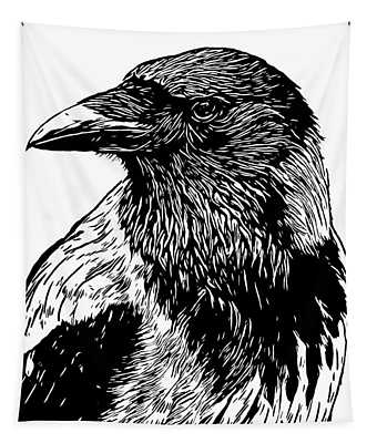 Portrait Of A Crow With Head Turned Looking In Black And White I Tapestry