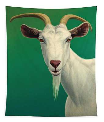 Tapestry featuring the painting Portrait Of A Goat by James W Johnson