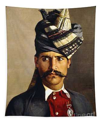 Portrait Of A Khattack In Military Headdress Tapestry