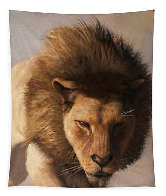Portrait Of A Lion Tapestry