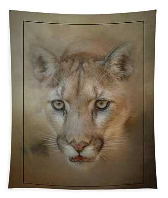 Portrait Of A Mountain Lion Tapestry