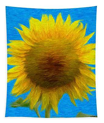 Portrait Of A Sunflower Tapestry
