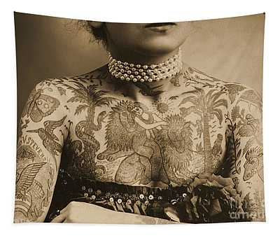Portrait Of A Tattooed Woman Tapestry