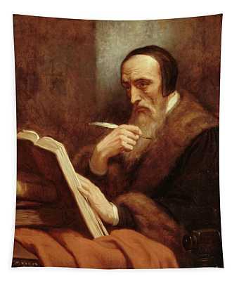 Portrait Of Jean Calvin Tapestry