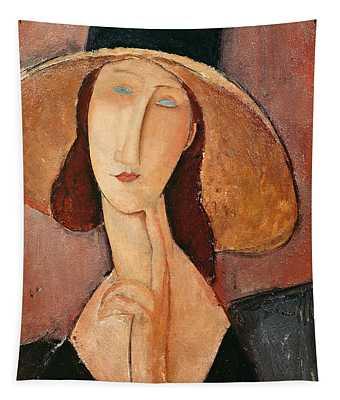 Portrait Of Jeanne Hebuterne In A Large Hat Tapestry