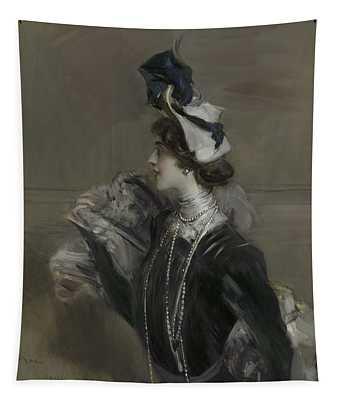 Portrait Of Mademoiselle Lina Cavalieri Tapestry