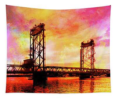 Portsmouth Memorial Bridge Abstract At Sunset Tapestry