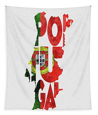 Portugal Typographic Map Flag Tapestry
