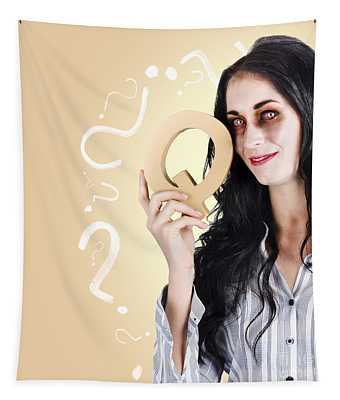 Possessed Businesswoman Holding A Q For Question Tapestry