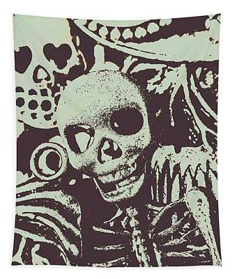 Posterized Skull Art Tapestry