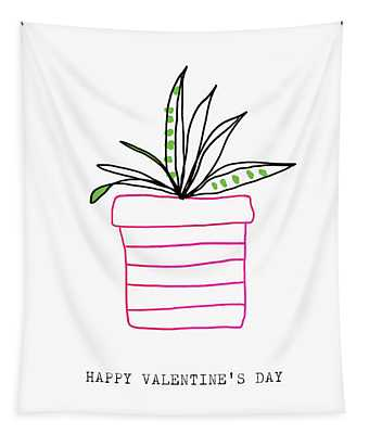 Potted Plant Valentine- Art By Linda Woods Tapestry
