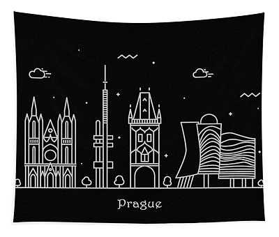 Prague Skyline Travel Poster Tapestry