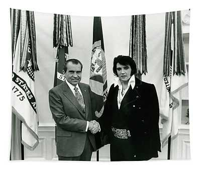 President Nixon And Elvis Presley In Oval Office Tapestry
