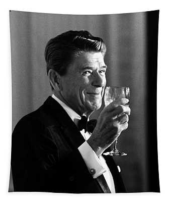 President Reagan Making A Toast Tapestry