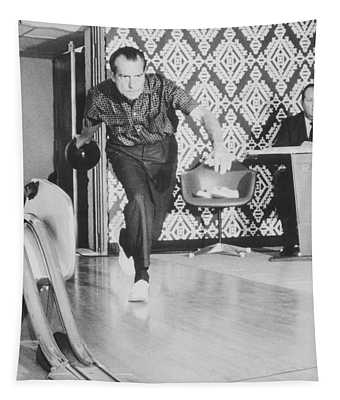President Richard Nixon Bowling At The White House Tapestry
