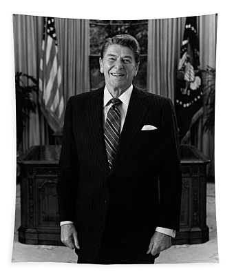 President Ronald Reagan In The Oval Office Tapestry