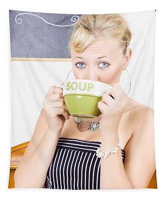 Pretty Retro Woman Drinking Hot Cup Of Soup Tapestry