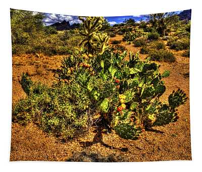 Prickly Pear In Bloom With Brittlebush And Cholla For Company Tapestry