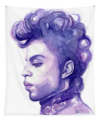 Prince Musician Watercolor Portrait Tapestry