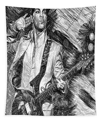 Prince - Tribute With Guitar In Black And White Tapestry