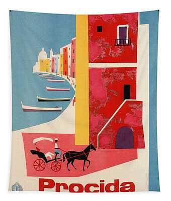 Procida - Naples, Italy - The Island Of Tranquility - Retro Travel Poster - Vintage Poster Tapestry