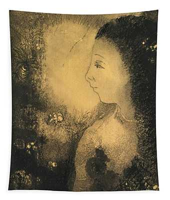 Profile Of A Woman With Flowers Tapestry