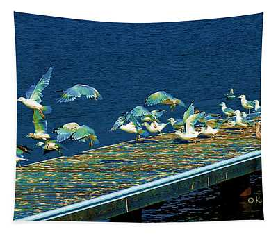 Psychedelic Gulls Tapestry