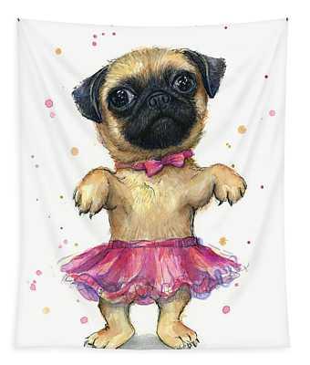 Pug In A Tutu Tapestry