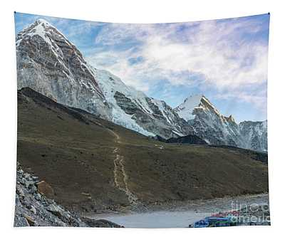 Pumori Peak Above Kalla Patthar And Gorak Shep Tapestry