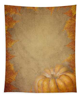 Pumpkin And Maple Leaves Tapestry