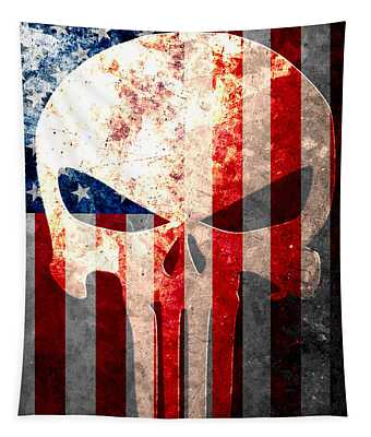 Punisher Themed Skull And American Flag On Distressed Metal Sheet Tapestry