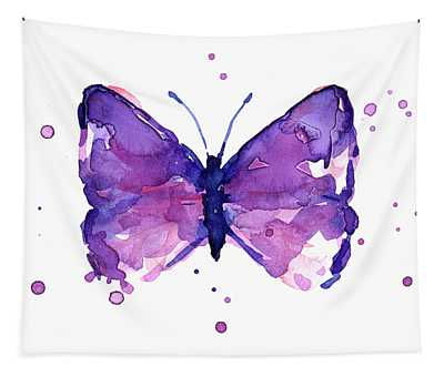 Purple Abstract Butterfly Tapestry