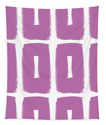 Purple Boxes- Art By Linda Woods Tapestry