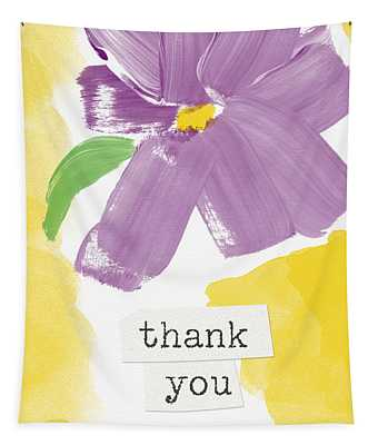 Purple Flower Thank You Card- Art By Linda Woods Tapestry