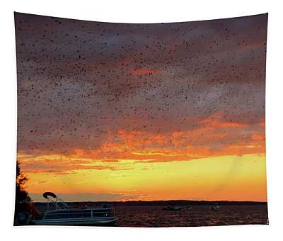 Purple Martin Sunset On Lake Murray Sc Tapestry