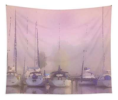 Tapestry featuring the digital art Purple Marina Morning by Shelli Fitzpatrick