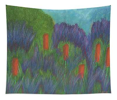 Purple Strife And Cattails Tapestry