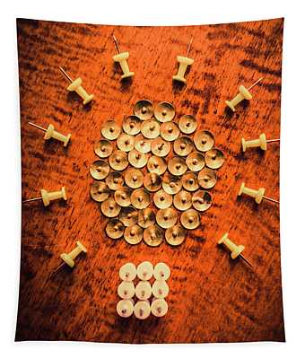 Pushpins Arranged In Light Bulb Icon Tapestry