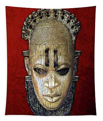 Queen Mother Idia - Ivory Hip Pendant Mask - Nigeria - Edo Peoples - Court Of Benin On Red Velvet Tapestry