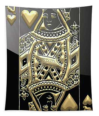 Queen Of Hearts In Gold On Black Tapestry