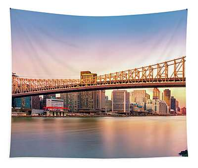 Queensboro Bridge At Sunset Tapestry
