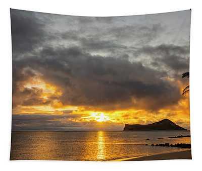 Rabbit Island Sunrise - Oahu Hawaii Tapestry
