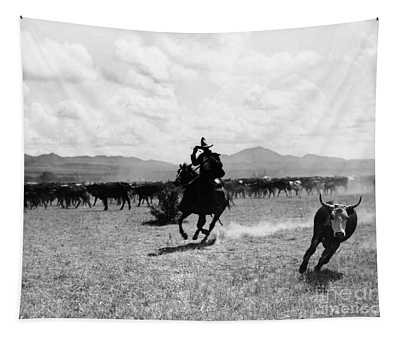 Raguero Cutting Out A Cow From The Herd Tapestry