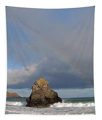 Rainbow Above Sango Bay Sea Stack Tapestry