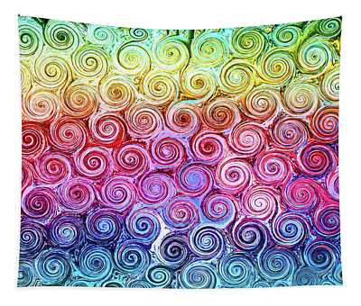 Rainbow Abstract Swirls Tapestry